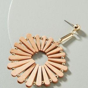 Anthropologie Brown Wooden Windmill Earrings NWT